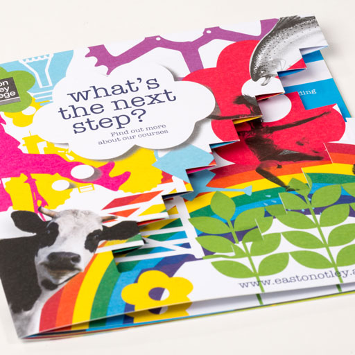 BROCHURE DIE CUT AND SADDLE STITCHED